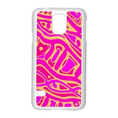 Pink Abstract Art Samsung Galaxy S5 Case (white) by Valentinaart