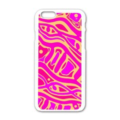 Pink Abstract Art Apple Iphone 6/6s White Enamel Case by Valentinaart