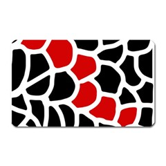 Red, Black And White Abstraction Magnet (rectangular) by Valentinaart