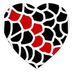 Red, Black And White Abstraction Jigsaw Puzzle (heart) by Valentinaart