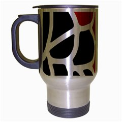 Red, Black And White Abstraction Travel Mug (silver Gray) by Valentinaart