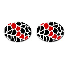 Red, Black And White Abstraction Cufflinks (oval) by Valentinaart