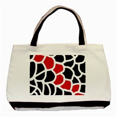 Red, Black And White Abstraction Basic Tote Bag