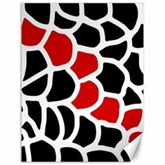 Red, Black And White Abstraction Canvas 12  X 16   by Valentinaart