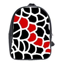 Red, Black And White Abstraction School Bags(large)  by Valentinaart
