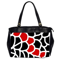 Red, Black And White Abstraction Office Handbags (2 Sides)  by Valentinaart