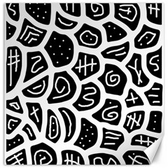 Black And White Playful Design Canvas 16  X 16   by Valentinaart