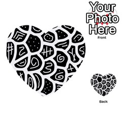 Black And White Playful Design Multi Purpose Cards (heart)  by Valentinaart