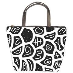Black And White Playful Design Bucket Bags by Valentinaart