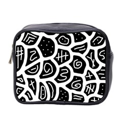 Black And White Playful Design Mini Toiletries Bag 2 Side by Valentinaart