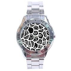 Black And White Playful Design Stainless Steel Analogue Watch by Valentinaart