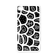 Black And White Playful Design Apple Iphone 4 Case (white) by Valentinaart