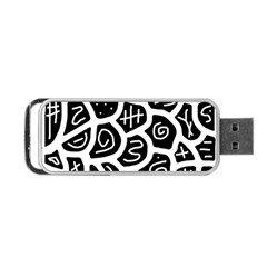 Black And White Playful Design Portable Usb Flash (one Side) by Valentinaart