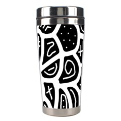 Black And White Playful Design Stainless Steel Travel Tumblers by Valentinaart