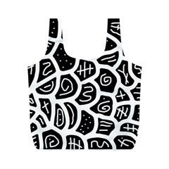 Black And White Playful Design Full Print Recycle Bags (m)  by Valentinaart