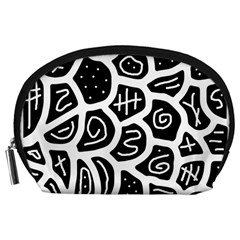 Black And White Playful Design Accessory Pouches (large)  by Valentinaart