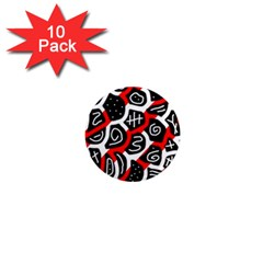 Red Playful Design 1  Mini Magnet (10 Pack)  by Valentinaart
