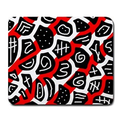 Red Playful Design Large Mousepads by Valentinaart