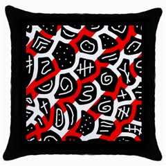 Red Playful Design Throw Pillow Case (black) by Valentinaart