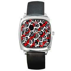 Red Playful Design Square Metal Watch by Valentinaart