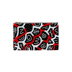Red Playful Design Cosmetic Bag (small)  by Valentinaart
