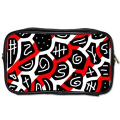 Red Playful Design Toiletries Bags by Valentinaart