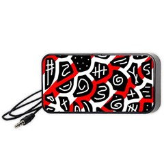 Red Playful Design Portable Speaker (black)  by Valentinaart