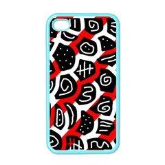 Red Playful Design Apple Iphone 4 Case (color) by Valentinaart