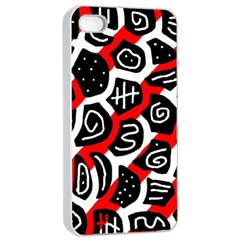 Red Playful Design Apple Iphone 4/4s Seamless Case (white) by Valentinaart
