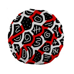 Red Playful Design Standard 15  Premium Round Cushions by Valentinaart