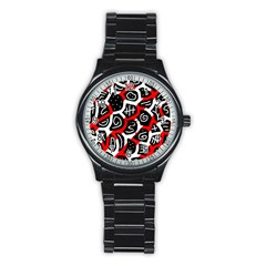 Red Playful Design Stainless Steel Round Watch by Valentinaart