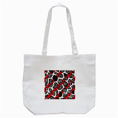 Red Playful Design Tote Bag (white) by Valentinaart
