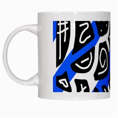Blue Playful Design White Mugs by Valentinaart