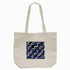 Blue Playful Design Tote Bag (cream) by Valentinaart