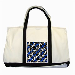 Blue Playful Design Two Tone Tote Bag by Valentinaart