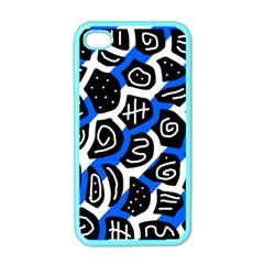 Blue Playful Design Apple Iphone 4 Case (color) by Valentinaart