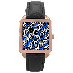 Blue Playful Design Rose Gold Leather Watch  by Valentinaart