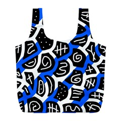 Blue Playful Design Full Print Recycle Bags (l)  by Valentinaart