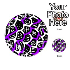 Purple Playful Design Playing Cards 54 (round)  by Valentinaart