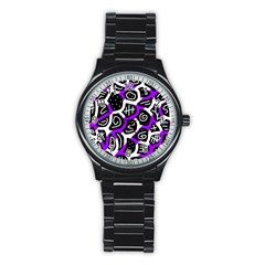 Purple Playful Design Stainless Steel Round Watch by Valentinaart