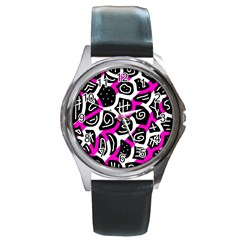 Magenta Playful Design Round Metal Watch by Valentinaart