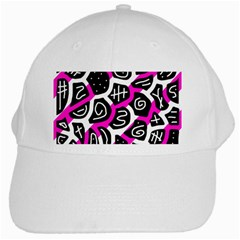 Magenta Playful Design White Cap by Valentinaart