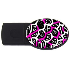 Magenta Playful Design Usb Flash Drive Oval (2 Gb)  by Valentinaart
