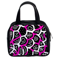 Magenta Playful Design Classic Handbags (2 Sides) by Valentinaart