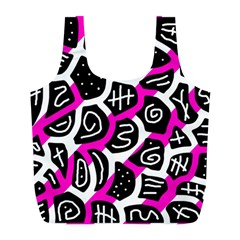 Magenta Playful Design Full Print Recycle Bags (l)  by Valentinaart