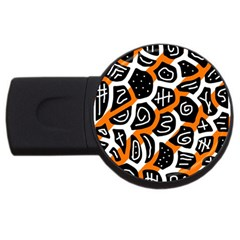 Orange Playful Design Usb Flash Drive Round (4 Gb)  by Valentinaart