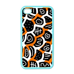 Orange Playful Design Apple Iphone 4 Case (color) by Valentinaart