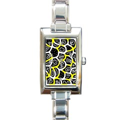 Yellow Playful Design Rectangle Italian Charm Watch by Valentinaart