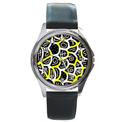 Yellow Playful Design Round Metal Watch by Valentinaart