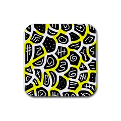Yellow Playful Design Rubber Square Coaster (4 Pack)  by Valentinaart